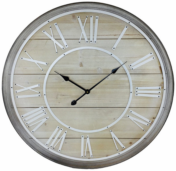 Large Rustic Wooden Wall Clock With White Roman Numerals - Seashore No4
