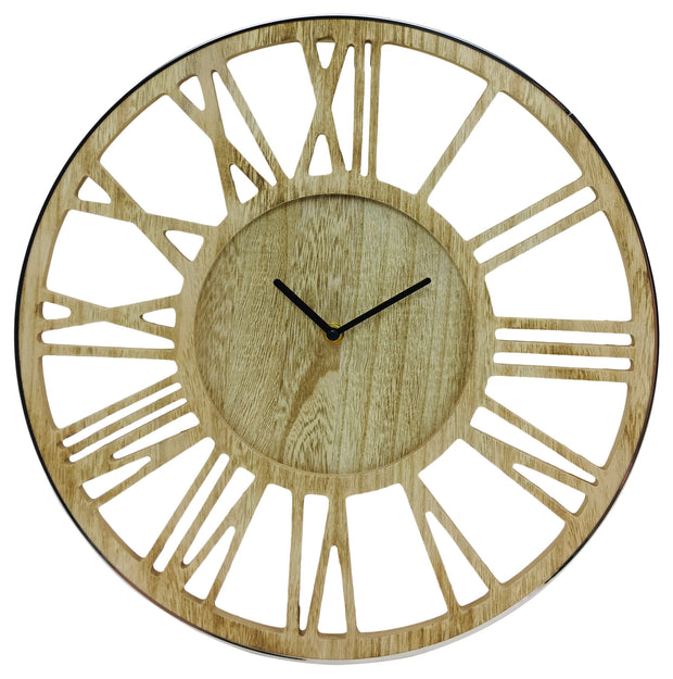 Wooden Skeleton Clock with Chrome Rim - Seashore No4