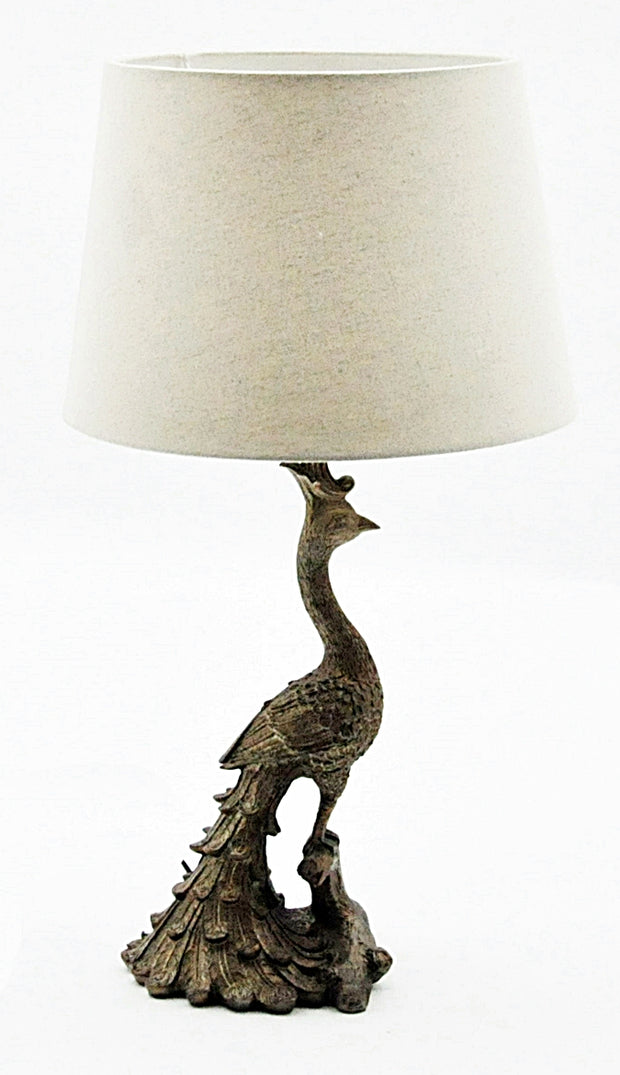 Golden Peacock Table Lamp And Shade - Seashore No4