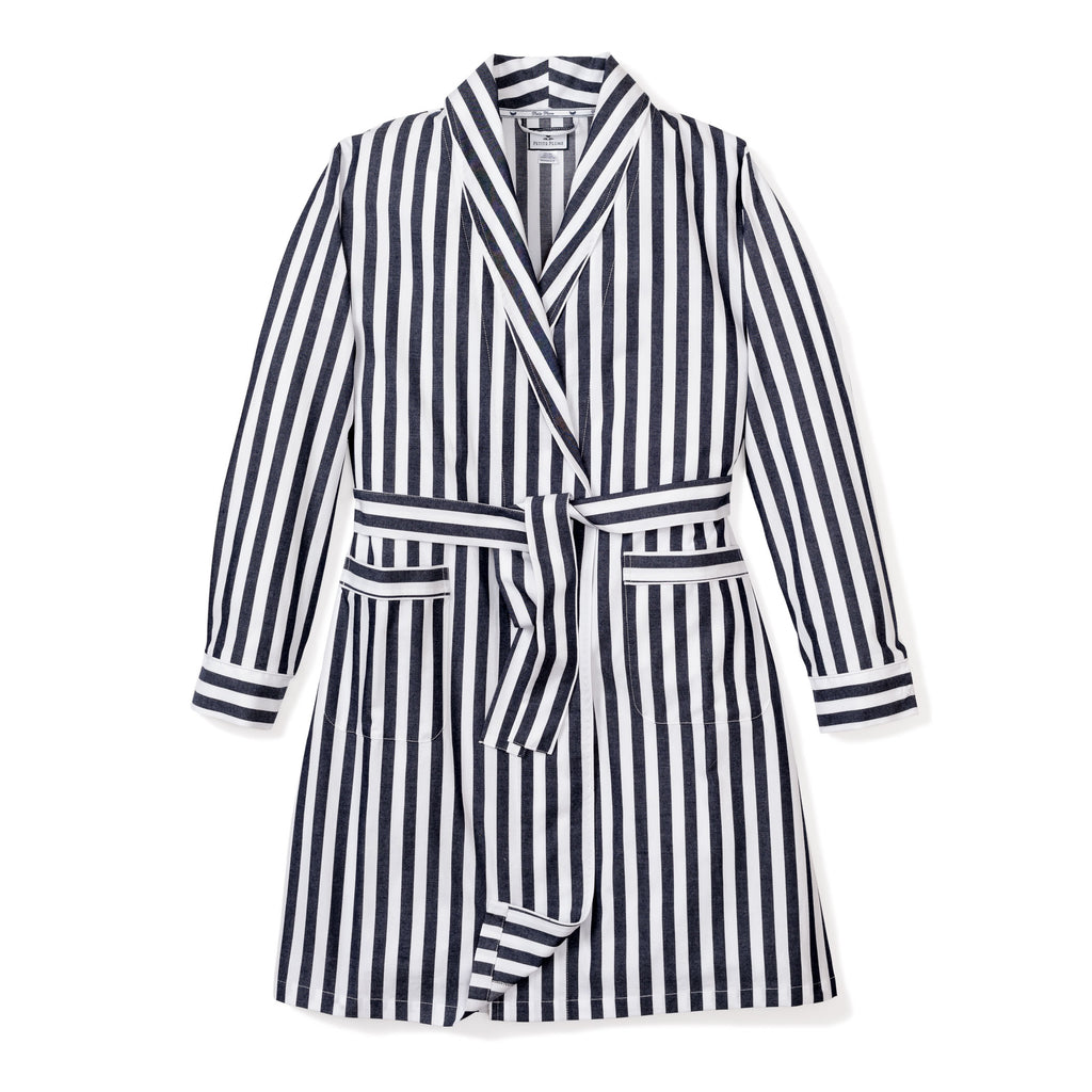 Women's Navy Modern Striped Robe
