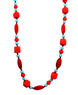 ['Teething necklace in red and turquoise', 'Necklace for mommy, teether for baby', 'Stylish teething necklace', 'Adjustable teething necklace']