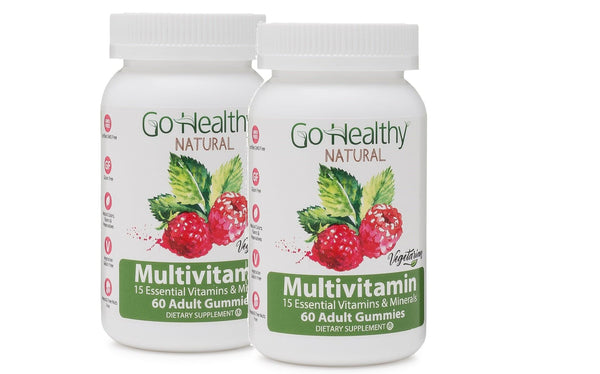 Multivitamin Adult Gummy- Pectin-Based, Vegetarian, Kosher 15 Vitamins- 2 Bottles (120)-60 Daily Servings