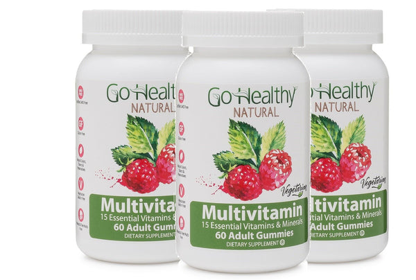 Multivitamin Gummies for Women and Men- Pectin-Based, Vegetarian, Kosher 15 Vitamins- 3 Bottles (120)-60 Daily Servings