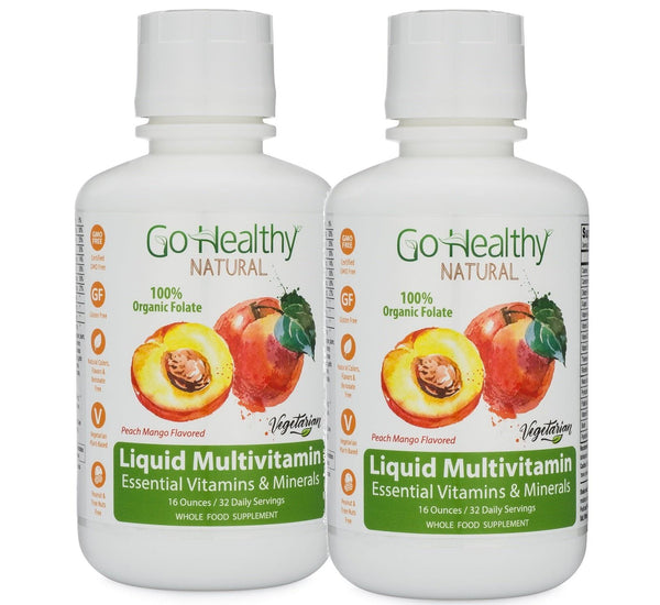 Multivitamin Liquid w/ Organic Lemon Peel Folate, Two (2) 16 oz Bottles - 64 Daily Servings.