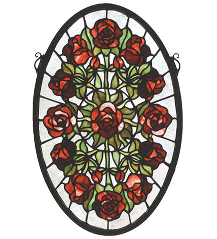 "11""W X 17""H Oval Rose Garden Stained Glass Window"