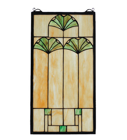 "11""W X 20""H Ginkgo Stained Glass Window"