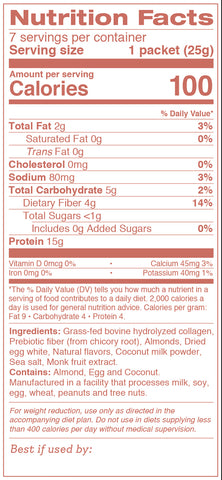Collagen Shake - Vanilla Almond Nutrition Label