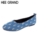 HEE GRAND Denim Vamp Fashion Design Women Flats Oxford Bottom Woman's Autumn Casual Shoes XWD6111