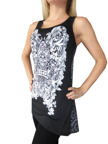 Midnight Rendezvous  Hi Low Tank Top