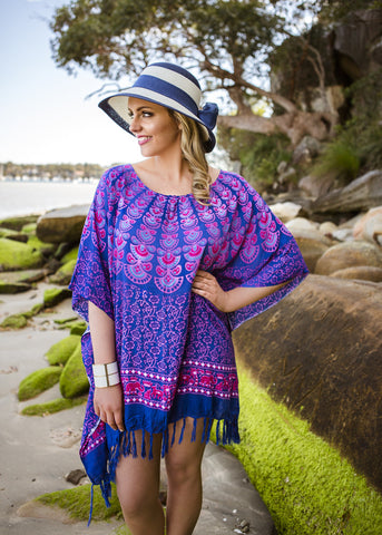 NAVY PEACOCK KAFTAN - Spray Tan Wear