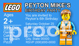 PRINTABLE.. CHOOSE ONE PERSONALIZED LEGO MOVIE EMMETT OR LEGO MOVIE WILDSTYLE BIRTHDAY INVITATION... SIZE 8 INCHES WIDE AND 5 INCHES TALL..