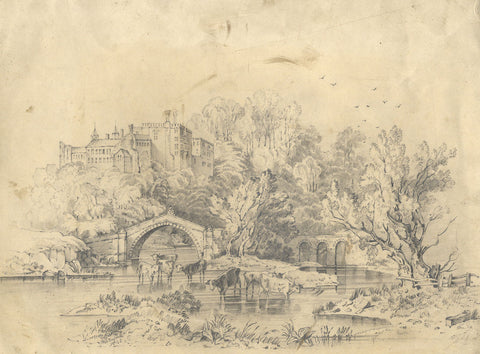 Frances Mary Perring, Lismore Castle, Waterford - Original 1843 graphite drawing