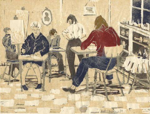 The Art Class - Original mid-20th-century woodblock print