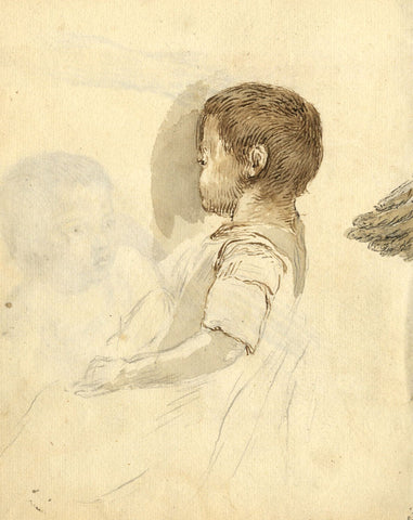 George Evans, Child in Profile with Mother's Hand - 18th-century pen & ink drawing