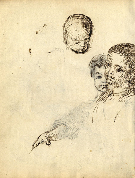 George Evans, Child Portrait Studies - Original 18th-century pen & ink drawing