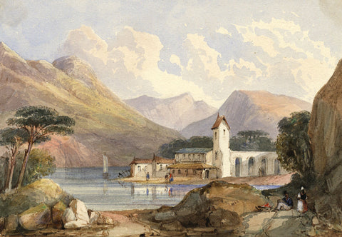 John Henderson, Lakeside Houses and Church - Original 19th-century watercolour
