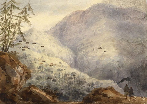 John Henderson, Mountain Scene - Original 19th-century watercolour painting