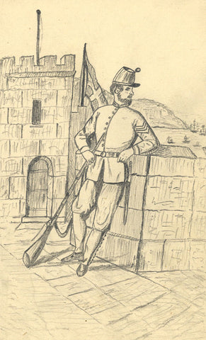 J.E. Jeffreys, Soldier on Guard at Fort - Original 1887 graphite drawing