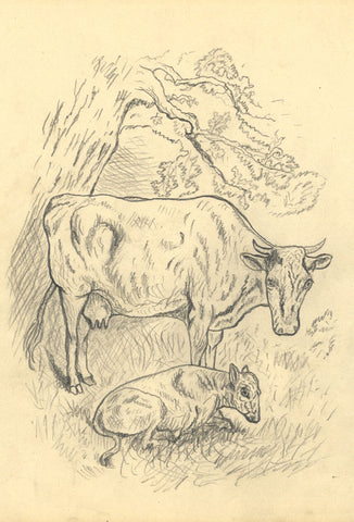 J.E. Jeffreys, Cow and Calf under Tree - Late 19th-century graphite drawing