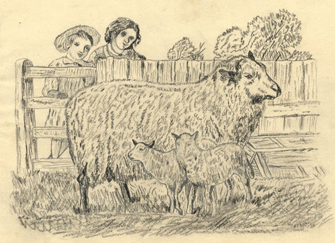 J.E. Jeffreys, Children Visiting Sheep - Late 19th-century graphite drawing