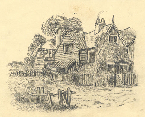 J.E. Jeffreys, Fenced Country Cottage - Late 19th-century graphite drawing