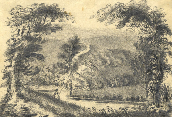 Fishing in a Wooded Landscape - Original early 19th-century graphite drawing