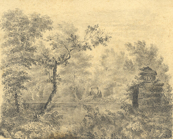 Couple Coversing in Woodlands - Original early 19th-century graphite drawing