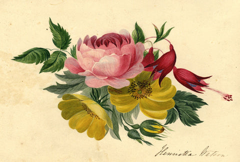 Henrietta Watson, Peony Flower Posy - Early 19th-century watercolour painting