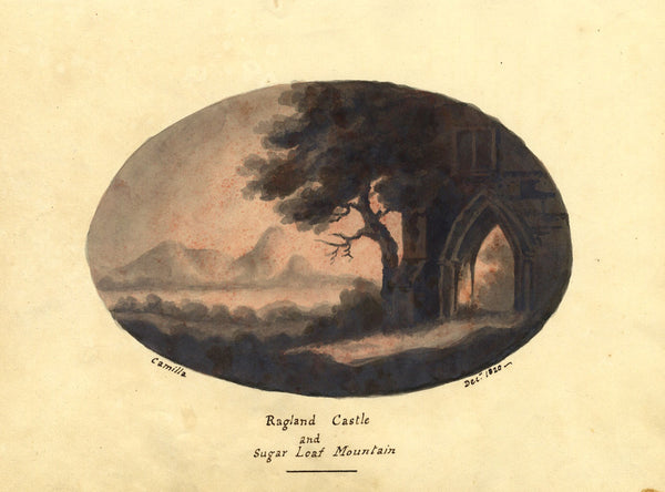 Camilla, Raglan Castle, Sugarloaf Mountain - Original 1820 watercolour painting