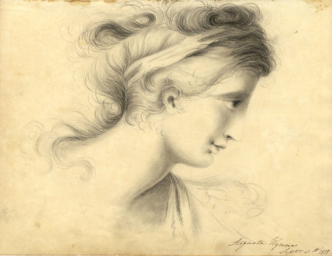 Augusta Wynne, Romantic Woman in Profile - Original 1818 graphite drawing