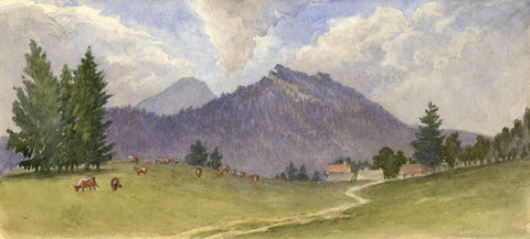 Cows Grazing at Les Rasses, Switzerland - Original 1881 watercolour painting