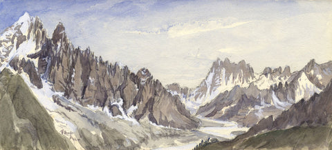 Aiguille Verte, 'The Green Needle', Mont Blanc - 1881 watercolour painting