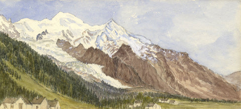 Mont Blanc Mountains from Chamonix - Original 1881 watercolour painting