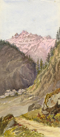 Mont Blanc Mountains from the Tête Road - Original 1881 watercolour painting