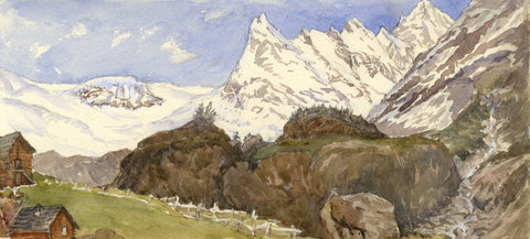 Mont Blanc Peaks from the Tête Road - Original 1881 watercolour painting