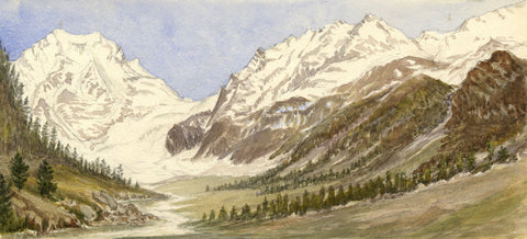 View of Mont Collon, near Arolla, Swiss Alps -Original 1881 watercolour painting