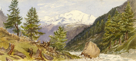 Woodlands in the Arolla Valley, Swiss Alps - Original 1881 watercolour painting