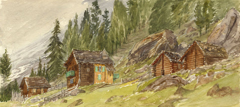 Mountain Chalets, Arolla Valley, Swiss Alps - Original 1881 watercolour painting