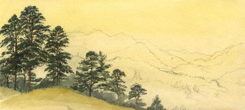 Mountain Landscape with Trees - Original late 19th-century watercolour painting