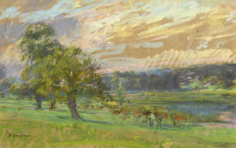 Alice Des Clayes, Landscape with Trees - Original 20th-century pastel drawing