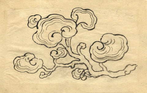 Japanese Stylised Blossom Branch - Original 19th-century pen & ink drawing