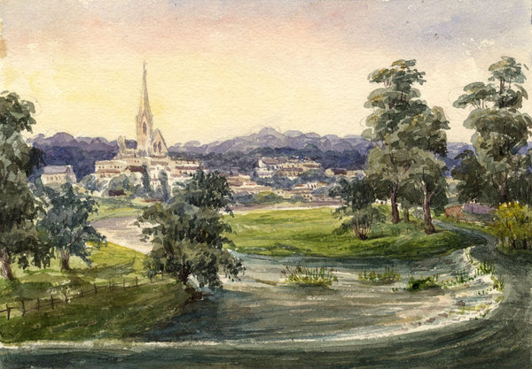 Kelso from Teviot Bridge - Original mid-19th-century watercolour painting