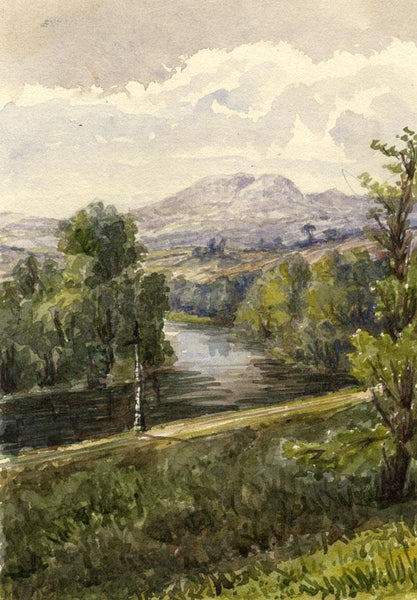 Largo Law, Scotland - Original mid-19th-century watercolour painting