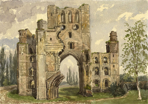 West Front, Kelso Abbey - Original mid-19th-century watercolour painting