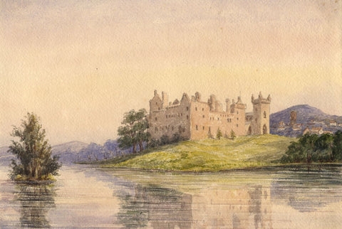 View of Linlithgow Palace - Original mid-19th-century watercolour painting