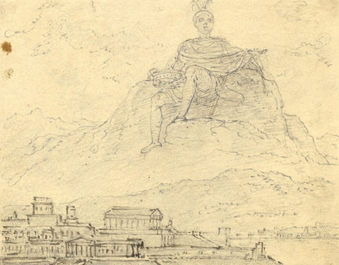 Robert Smirke R.A., Olympus over Athens - Early 19th-century graphite drawing