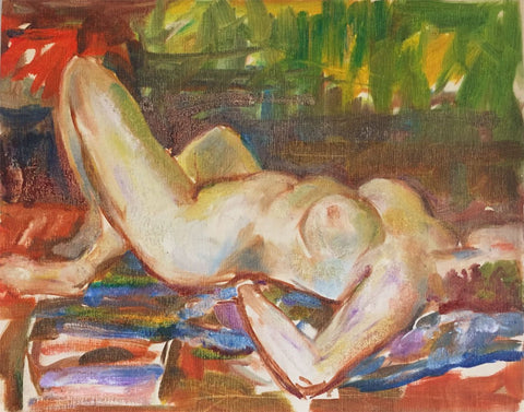 Derrick Latimer Sayer, Multicolour Female Nude Study-Original 1970s oil painting