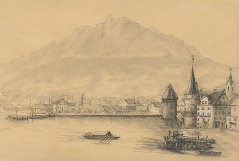 Adeline Frances Mary Dart, Lucerne Chapel Bridge & Water Tower - 1860 drawing