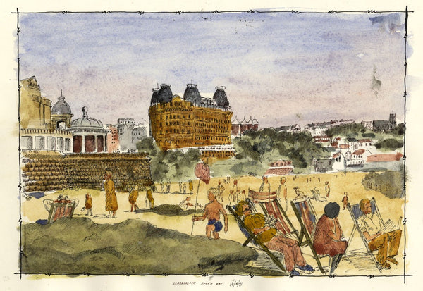 E.F. Hearfield, Summer at Scarborough South Bay Beach - 1991 pen & ink drawing