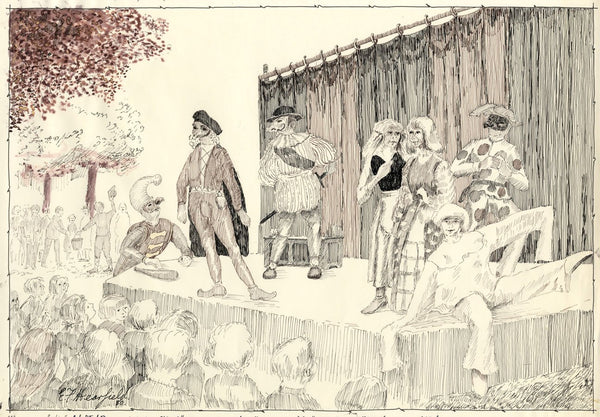 E.F. Hearfield, Commedia dell'arte, York Festival - 1980 pen & ink drawing